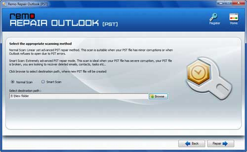 Inbox repair tool for Outlook 2007 - Select Scan Type