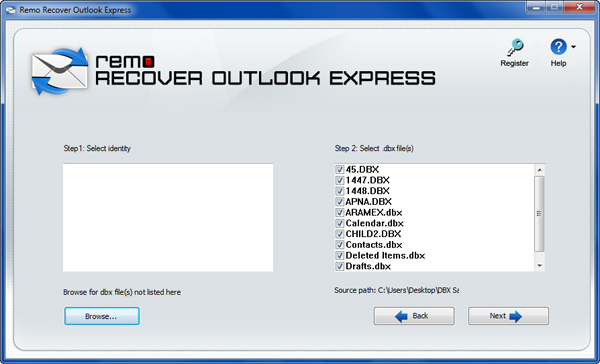 Inbox Repair Tool for Outlook Express - Select DBX Files